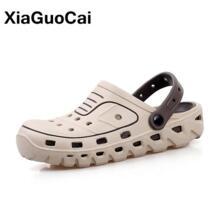 Новое поступление 2019 года; Мужские сабо; Летняя обувь; мужские шлепанцы; дышащие Нескользящие шлепанцы; Мужская садовая обувь; повседневные пляжные сандалии; быстросохнущие XiaGuoCai 32858836395