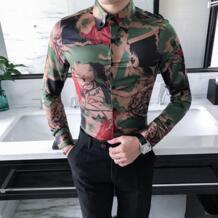 Высококачественная Корейская рубашка, мужская мода 2019, новые весенние камуфляжные мужские рубашки в стиле кэжуал зауженный крой, для вечеринки, платье, рубашка MOTUWETHFR 32845151046