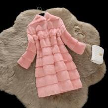 X-длинный 90 см волны cut натуральный мех кролика зимние куртки женские стенд воротник длинный тонкий утолщение Теплый Настоящее пальто с мехом верхняя одежда cockscomb 32711781404