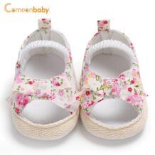 Летние для маленьких девочек сандалии с бантом удобные хлопковые мягкие кроссовки Мода новорожденных детские сандалии Kacakid 32878002556