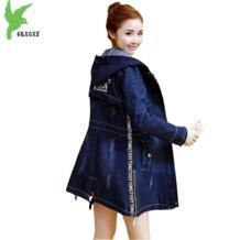Весна Осень женская джинсовая ветровка Новая мода с капюшоном Студенческая одежда Большие размеры тонкие повседневные топы ковбойский Тренч OKXGNZ 32816190406