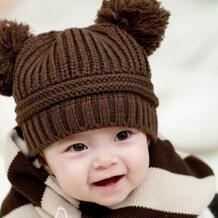 Мода двойной волосы мяч Вязание дети шляпа теплая Кепки ребенка плюс детская зимняя шапка для девочки и мальчика крючком Skullies шапочки No name 1100513772