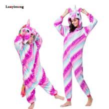 Костюм единорога для мальчиков и девочек, пижамы кигуруми для взрослых, комбинезон для детей, зимняя одежда для сна с животными, костюм стежка, детский комбинезон No name 32900742142