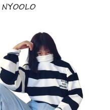 уличная Осень черный, белый цвет в полоску хлопок буквы вышивка водолазка пуловеры для женщин Толстовка для мужчин костюмы Топы NYOOLO 32727578372