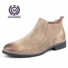 DOLKEARSEN новые осенние ботинки челси Для мужчин замшевые острый носок Ботинки kanye west зимние Бархатные модные ретро обувь из натуральной кожи No name 32829981995