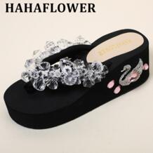 Bling кристалла Для женщин Вьетнамки модные Летний стиль шлепанцы на платформе для женщин HAHAFLOWER 32822010699