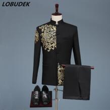 Черно-белые мужские костюмы в китайском стиле, золотые блейзеры с вышивками, выпускной, Главная сцена, наряд, мужской певец, команды, хор, Свадебный костюм DS LOBUDEK 32326698570