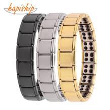 модные ювелирные изделия 13 мм золото серебро черный 80 Германий нержавеющая сталь энергия браслет замок-стяжка для мужчин женщин G022 Hapiship 32841387828