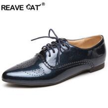/Sapatos femininos большой Размер 32–46 Весенняя женская обувь из лакированной кожи Туфли без каблуков, носком на шнуровке модные Повседневное ql4913 REAVE CAT 32295430452