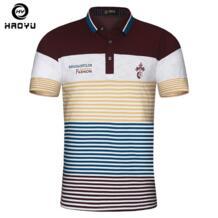 Мужская рубашка поло из воздушного хлопка с короткими рукавами, надпись-логотип известного бренда, тонкая рубашка в английском стиле с градиентом, поло для мужчины, новинка Haoyu No name 32571641746