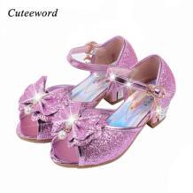 Детские сандалии; вечерние туфли принцессы для девочек; блестящие свадебные сандалии для девочек; туфли на высоком каблуке с кристаллами; цвет розовый, золотой, синий Cuteeword 32822844799
