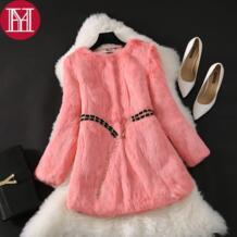 Натуральный Реальный мех кролика длинное пальто Новинка 2017 года зима реального кролика Меховая куртка в Корейском стиле с рукавом три четверти из мягкой натуральной шубы YH 32819378511