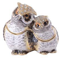 Бесплатная доставка Пара Сова bejeweled ювелирные изделия золото животных металлическая коробка для бижутерии Винтаж украшения коробка кольца коробка серьги/кулон коробка Fancy Sharina 32341626448