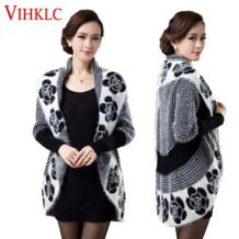 2016 Модель на весну и осень Для женщин корейская мода цветок мохер вязать шаль кардиган свитер куртка средний длинные свитера плюс Размеры 3XL G413 VIHKLC 32718332493