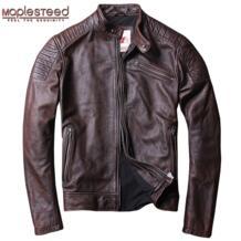 Мужская куртка из потертой кожи , красно-коричневые винтажные мотоциклетные жакеты из воловьей кожи, стройный пиджак из телячьей шкуры, байкерская одежда для осени и зимы, М104, 2019 Maplesteed 32848923116
