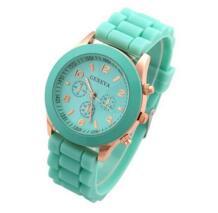Лидер продаж ЖЕНЕВА Марка розовое золото Силиконовые часы для женщин женская одежда кварцевые наручные часы Relogio Feminino GV008 No name 638236860