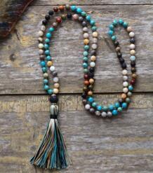Для женщин бусинами Цепочки и ожерелья 6 мм Натуральный камень лавы кисточкой Цепочки и ожерелья Новый Boho лассо мала Йога Цепочки и ожерелья дропшиппинг KOYSKO 32810621102