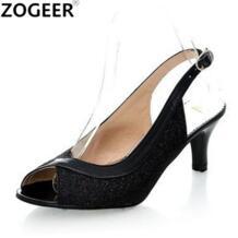 Большие размеры 34-48; хит продаж 2019 года; летние женские босоножки; модные повседневные вьетнамки на среднем каблуке; женская обувь с открытым носком; цвет черный, серебристый, золотистый ZOGEER 1944008075