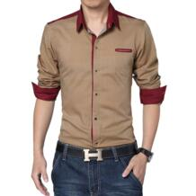 Новинка 2017 года Для мужчин повседневная рубашка из хлопка с рисунком брендовая одежда с точка мужской смокинг рубашка с длинным рукавом мужская одежда Рубашки для мальчиков Для мужчин одежда Camisa Bolubao 32792581972