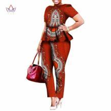 2019 Леггинсы для женщин на заказ брендовые комплекты из двух предметов африканская Базен Riche одежда для женщин комплект из двух предметов брюки в африканском стиле WY520 BintaRealWax 32664011206