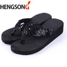 HENGSONG Sandalias Mujer Для женщин блестками сандалии пляжные шлепанцы летние сандалии Вьетнамки леди клинья обувь женская обувь OR670951 No name 32790105931