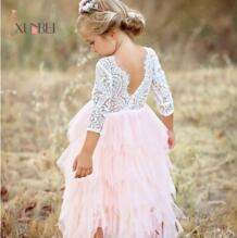 Мягкое фатиновое платье принцессы для девочек; цвет белый, розовый; пышные кружевные платья с цветочным узором; коллекция 2019 года; праздничное платье для девочек; платья для первого причастия; вечерние платья xunbei 32879260673