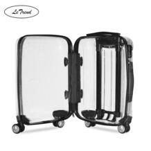 LeTrend 100% прозрачные брендовые сумки на колёсиках для мужчин, Международный чемодан на колесиках, 20 дюймов, женские дорожные сумки No name 33033636416