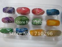Оптовая смешанный много Агат e палец кольцо природный Полу камень большой кольцо Кольца 12 штук в упаковке No name 668174055