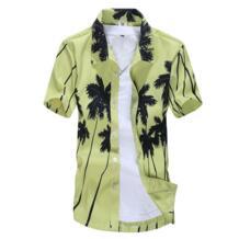 2019 летние Для мужчин пляж рубашка поиску футболки деревья Гавайские рубашки мужской больших размеров короткий рукав сорочка мужская одежда для плавания No name 32887479897