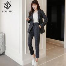 Новые осенние зимние женские классические брюки костюмы модные полосатые топы с отложным воротником и повседневные штаны комплекты из двух предметов S99021L BIRDTREE TB 32933618124