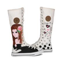 Модные небольшой свежий осенний Для женщин обувь Высокие боковые молнии парусиновая обувь для девочек ручная роспись обувь сапоги с рисунком высоким голенищем обувь E-LOV 32575338194