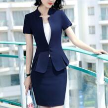 2019 Новая модная деловая юбка, костюм для женщин, летний костюм для официального стиля с коротким рукавом блейзер и юбка для офиса, большие размеры 4XL, униформа ANRAEQI 32999298910