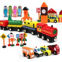 Деревянные строительные блоки трафика сцены детская игрушка, деревянная Магнитная поезд игрушки, детские классические деревянные блоки масштабные модели автомобиля No name 32869195600