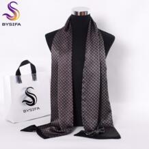 [] Черные Красные длинные шарфы для мужчин модные аксессуары мужской шарф из чистого шелка галстук Зимний цветочный узор шарф 160*26 см BYSIFA 32774132934