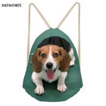 Kawaii 3D Бигль собаки печать Для женщин Для мужчин завязки сумки Softback Путешествия хранения рюкзаки многофункциональный пляжные сумки instantarts 32853219363