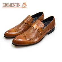 Модные Мужские модельные туфли без шнуровки Orange Натуральная кожа деловые мужские туфли GRIMENTIN 32822693843