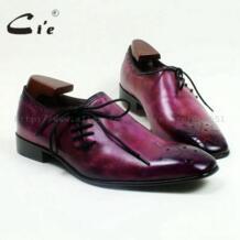 CIE квадратный носок натуральной телячьей Кожаная подошва дышащая ручной работы Для мужчин; повседневная обувь на плоской подошве Кружево-Up ручная роспись Фиолетовый ox517 No name 447511162