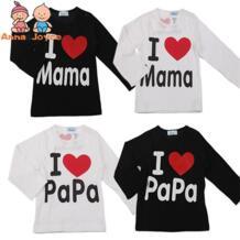 Детская Хлопковая футболка с надписью «I Love Papa Mama», Весенняя детская одежда для мальчиков и девочек, футболка на рост 70-100 см Anna & Joyce 32856163758