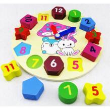 Новые деревянные часы кролика геометрическая форма соответствия детские деревянные развивающие игрушки цифровые часы Геометрическая игрушка No name 32919977850