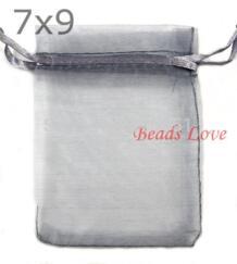 100 шт. серый упаковка ювелирных изделий тянущаяся органза сумки пакеты для свадебных подарков 7 см X 9 см AA (W03187) GMB724 1890238053