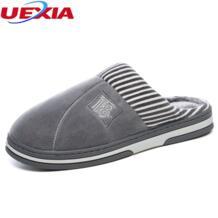 зима Обувь на теплом меху Для мужчин Шлёпанцы для женщин TPR подошве домашние плюшевые домашняя обувь Человек Крытый Спальня домашняя обувь женские Плюшевые Тапочки UEXIA 32832992517