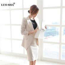 Luosha 3 2 цвета штук Для женщин полоса пиджак костюм работы деловая модельная одежда и куртка костюм деловой костюм весна autume элегантный Офисные женские туфли No name 32858363557
