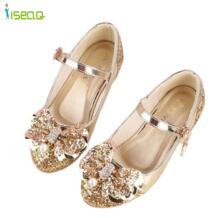 Для принцессы кожаные туфли детская одежда для девочек обувь для танцев Свадебные и вечерние туфли с вырезами дети блеск высокая обувь на каблуке 5-13years ISEAQ 32700282735