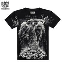 [Для мужчин кость] Горячая Мода Для мужчин 3D Drop Dead Grim Reaper Стиль Black Sabbath Каратель Череп 3D печать футболки хлопок рукав Men bone 32349092303