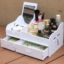 Мода Вуд-Пластик доска косметической ящик рабочего Коробка для хранения Пластик Стойки косметический ящик для хранения с зеркалом No name 32845753761
