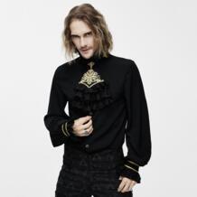 Дьявол Мода викторианская готика Мужской Шелковый галстук рубашка стимпанк Черный белый смокинг рубашки с кружевным воротником мужские блузки Топы EVA LADY 32828584891