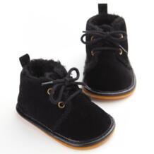 /Новые модные однотонные детские ботинки на шнуровке с перекрестной шнуровкой на осень-зиму, детская обувь для теплых детских плюшевых ботинок, оптовая продажа WONBO 32711556722