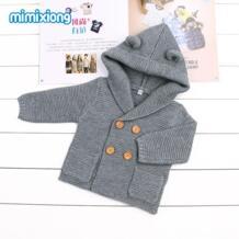 Серый вязаный кардиган для новорожденных, свитер зимнее пальто с длинными рукавами для маленьких мальчиков, куртки с капюшоном осеннее пальто на пуговицах для маленьких девочек mimixiong 32835840030