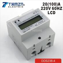 20 (100) 220 В 60 Гц однофазный din-рейку кВтч Ватт час din-рейку счетчик энергии ЖК-дисплей No name 32268032847