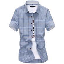 Новое поступление мужская рубашка в клетку Повседневная хлопковая качественная рубашка с коротким рукавом Chemise Homme Slim Fit одежда летние рубашки мужские Happy Time 32684504226